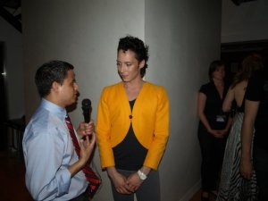 Neal B. interviewing Olympic skater Johnny Weir